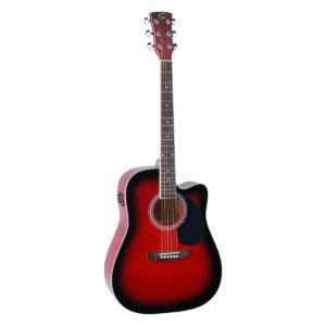 chitarra acustica studio elettrificata red